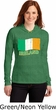 St Patricks Day Ireland Flag Ladies Long Sleeve Hooded Shirt