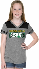 St Patricks Day Irish Kid Girls Football Tee