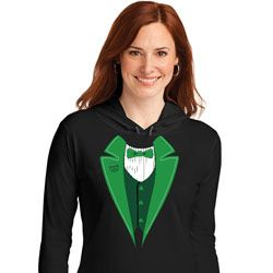 St Patricks Day Irish Tuxedo Ladies Hooded Shirt