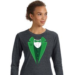 St Patricks Day Irish Tuxedo Ladies Sweatshirt