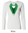 St Patricks Day Ladies Shirt Irish Tuxedo Long Sleeve Tee T-Shirt