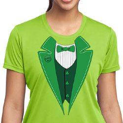 St Patricks Day Ladies Shirt Irish Tuxedo Moisture Wicking Tee T-Shirt