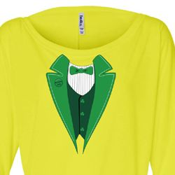 St Patricks Day Ladies Shirt Irish Tuxedo Off Shoulder Tee T-Shirt