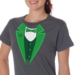 St Patricks Day Ladies Shirt Irish Tuxedo Organic Tee T-Shirt