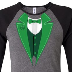 St Patricks Day Ladies Shirt Irish Tuxedo Raglan Tee T-Shirt