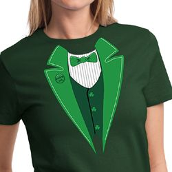 St Patricks Day Ladies Shirt Irish Tuxedo Tee T-Shirt