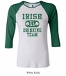 St Patricks Day Ladies Shirts Irish Drinking Team Raglan Tee T-Shirt
