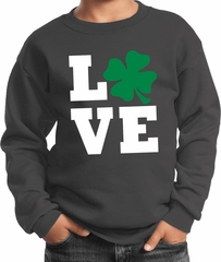 St Patricks Day Love Shamrock Kids Sweatshirt