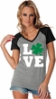 St Patricks Day Love Shamrock Ladies Contrast V-neck