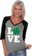 St Patricks Day Love Shamrock Ladies V-neck Raglan