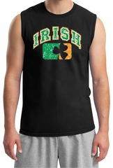 St Patricks Day Mens Shirt Distressed Irish Shamrock Muscle Tee