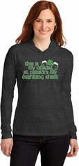 St Patricks Day Official Drinking Shirt Ladies Long Sleeve Hooded