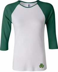 St Patricks Day Shamrock Patch Bottom Print Ladies Raglan