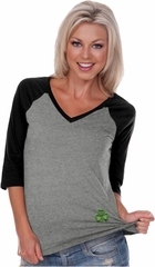 St Patricks Day Shamrock Patch Bottom Print Ladies V-neck Raglan