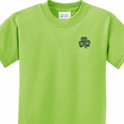 St Patricks Day Shamrock Patch Pocket Print Kids Shirts