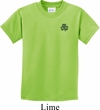 St Patricks Day Shamrock Patch Pocket Print Kids T-shirt