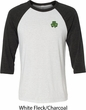 St Patricks Day Shamrock Patch Pocket Print Raglan Shirt