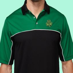 St Patricks Day Shamrock Patch Pocket Print Shirts