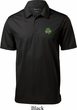 St Patricks Day Shamrock Patch Pocket Print Textured Polo