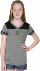 St Patricks Day Shamrock Patch Small Print Girls Football Tee
