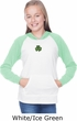 St Patricks Day Shamrock Patch Small Print Girls Long Sleeve Hoodie