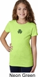 St Patricks Day Shamrock Patch Small Print Girls T-shirt