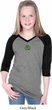 St Patricks Day Shamrock Patch Small Print Girls V-neck Raglan