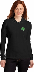 St Patricks Day Shamrock Sequins Pocket Print Ladies Hooded Shirt