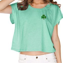 St Patricks Day Shamrock Sequins Pocket Print Shirts