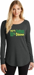 St Patricks Day Shirt 10% Irish 90% Drunk Ladies Tri Long Sleeve