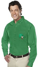 "Mens ""Irish Mouse"" Long Sleeve Twill Dress Shirt - Kelly Green"