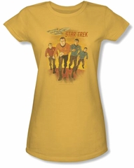 Star Trek Juniors Shirt - Classic Crew Animated Yellow Tee