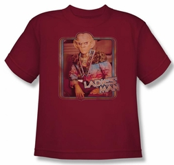 Star Trek Kids Shirt Deep Space 9 Quark Ladies Man Cardinal Youth Tee