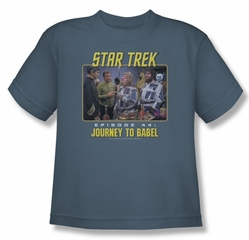 Star Trek Kids Shirt Journey To Babel Slate Youth T-Shirt Tee