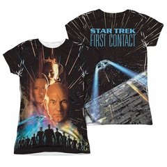Star Trek - Movies Fist Contact Poster Sublimation Juniors Shirt Front/Back Print