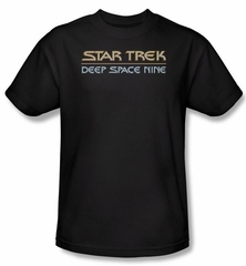 Star Trek Shirt Deep Space Nine Logo Adult Black Tee T-Shirt