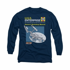 Star Trek Shirt Enterprise Manual Long Sleeve Navy Tee T-Shirt