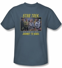 Star Trek Shirt Journey To Babel Adult Slate Tee T-Shirt