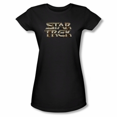 Star Trek Shirt Juniors Steel Logo Black T-Shirt