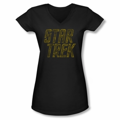 Star Trek Shirt Juniors V Neck Distressed Logo Black T-Shirt