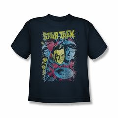 Star Trek Shirt Kids Comic Illustration Navy T-Shirt