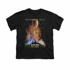 Star Trek Shirt Kids First Contact Black T-Shirt