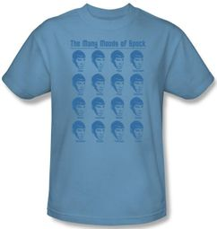 Star Trek Shirt - Many Moods of Spock Adult Carolina Blue