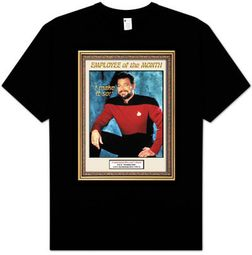 Star Trek Shirt - Next Generation Employee of Month Riker Adult Black