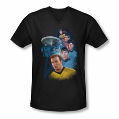Star Trek Shirt Slim Fit V-Neck Among The Stars Black T-Shirt