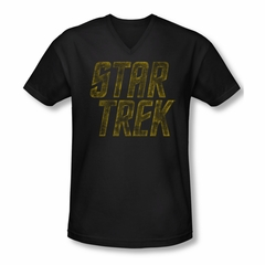 Star Trek Shirt Slim Fit V-Neck Distressed Logo Black T-Shirt