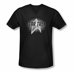 Star Trek Shirt Slim Fit V-Neck Glow Logo Black T-Shirt