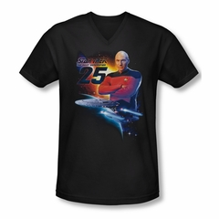 Star Trek Shirt Slim Fit V-Neck The Next Gen 25 Black T-Shirt