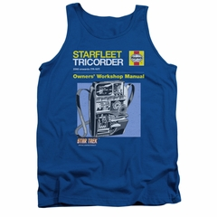 Star Trek Shirt Tank Top Tricorder Manual Royal Blue Tanktop