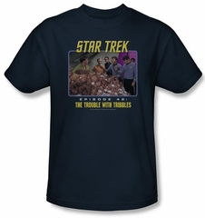 Star Trek Shirt The Trouble With Tribbles Adult Navy Tee T-Shirt